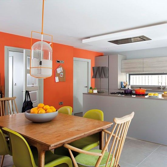 bright orange and modern age house painting